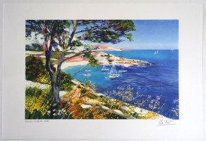 Lithographie (la crique aux bateaux) E.A. 60 exemplaires - format 28x43 sur 38x56