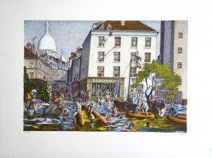 lithographie - La grande crue - sur Arches 275 exemplaires - format 34x50 sur 49x65