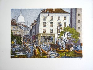Lithographie - La grande crue - sur Arches - E.A. - format 33x50 sur 49.65
