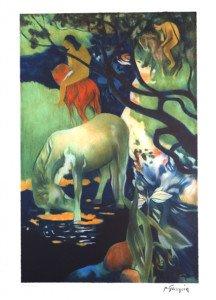 lithographie  - Le cheval blanc - timbre à sec france litho - 250 exemplaires - format 67x44 sur 76x54.5