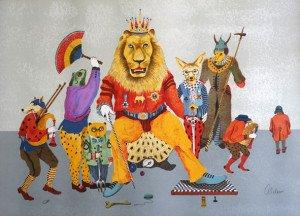 lithographie (le lion Roi) sur Arches - E.A - format pleine page 54.5x75