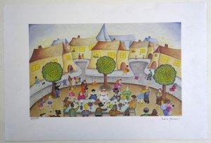 Lithographie les mariés - sur Velin format 26x42 sur 38x56 - tirage 450 exemplaires