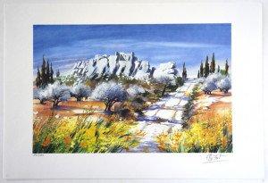lithographie (les rochers) - 190/390 exemplaires - format 28x43 sur 38x56