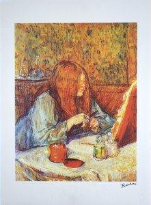 lithographie papier Arches -Mme Poupoule à sa toilette - Format 58x45 sur 77x57