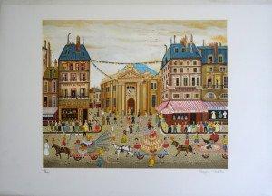 Lithographie sur Arches (Bourse du Commerce) -225 ex. Format 41x55 sur 55x75