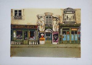 Lithographie sur Arches - Passage St Jean Heine Paris - 250 ex. format 40x57.5 sur 54.5x76