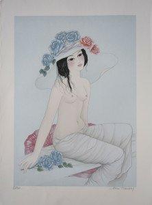 Lithographie sur Fabriano - Jeune fille au chapeau fleuri 250 ex. Format 62x45 sur 56x76