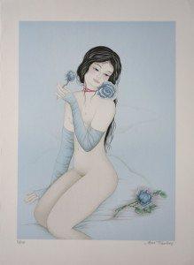 lithographie sur Fabriano (les roses bleues) 250 ex. Format 62x45 sur 56x76