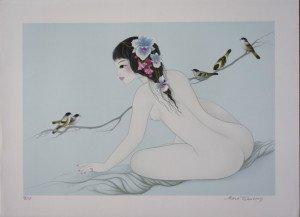 lithographie sur Fabriano (Oiseaux sur la branche) 250 ex. Format 44x64 sur 56x76