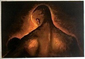 (personnage de dos) sur papier Arches - 46.5x67 sur 51x72