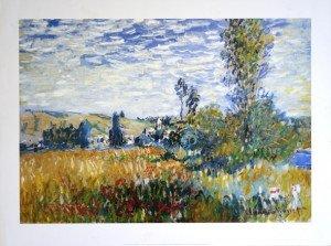 print 1999  Claude Monet - Vétheuil - format 49.5x70.5 sur 60x80