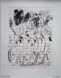 sérigraphie sur Grégoire gris - Letter I - 1989 50 ex. Format pleine page 83x66