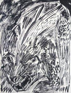 sérigraphie sur papier d'empallage gris - Ours (7) - Format 65x50