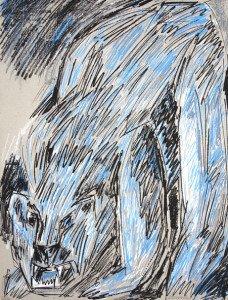 sérigraphie sur papier emballage gris - Ours (1) - format pleine page 65x50