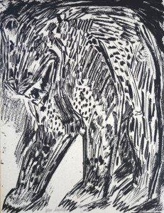 sérigraphie sur papier emballage gris  - Ours (4) - format 65x50