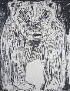 sérigraphie sur papier emballage gris - Ours (5) - Non numérotée non signée
