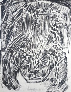 sérigraphie sur papier emballage gris - Ours (6) - Format 65x50