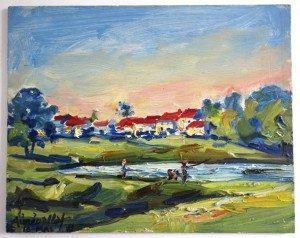 sur bois (village 10 05 1971) format 21.5x27