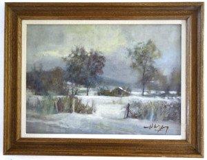 sur panneau (paysage de neige) - format panneau 33x46