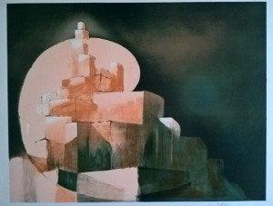 (village cubiste) sur papier Arches - format 50x64 sur 54.5x70