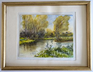 aquarelle format 12x15.5 - Vichy octobre 77 - Le ruisseau à Kayacs 26