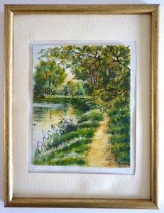 aquarelle format 15x12.5  - Vichy octobre 77 - Le ruisseau à Kayacs 26