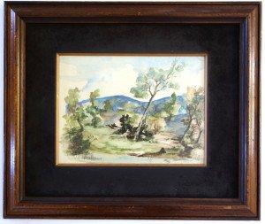 aquarelle sans titre datée 10-72 - Format 24x32 sur marquise noire 37x46
