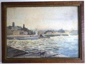 aquarelle sur carton format 26x35 titré au dos Ancien port de Cannes