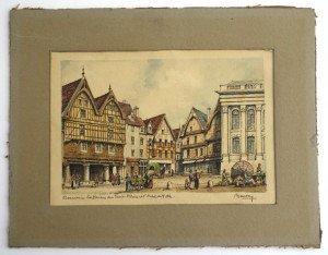 Beauvais la maison des trois piliers et l'hotel de ville format 12x18 hors texte