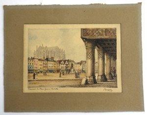 Beauvais la place jeanne hachette format 12x18 hors texte