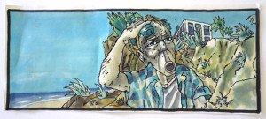 feutres couleurs sur papier format 9 x 21