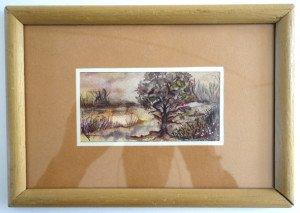 aquarelle sur papier cadre 17x24 aquarelle 6x12