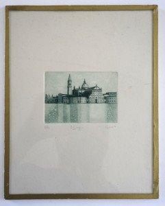 gravure - S. Giorgio - Feuillet 25x20 bassin 6.8x9.5