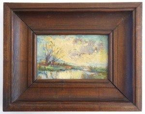 peinture sur carton format 8.6x14 - cadre bois 19x24