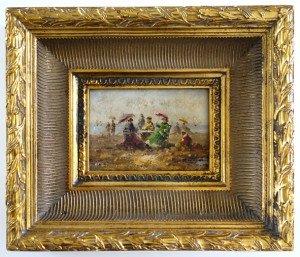 sur bois - format cadre 29.5x34.5x6.8 ep - peinture 12.5x17.5