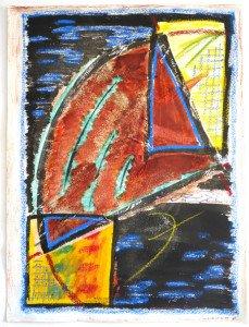 acrylique sur papier Arches 300 gr et papier calque - 61x46 - Essais du 08 10 1992