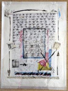 collage et encre de chine sur calque et rhodoid - format 61x46