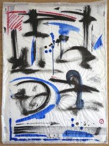 encre de chine, acrylique et pastel gras sur papier calque -format 62x47 - PA 97