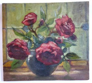 Vase et fleurs rouges sur bois format 24.5x26.5