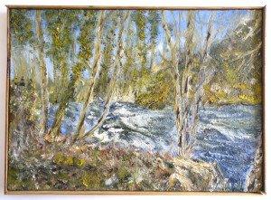 acrylique sur toile de lin - l'Azergues en janvier 2008 - format 33x46