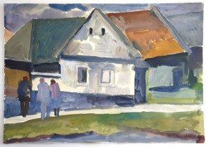 Gouache -Vieille maison - format 35x50
