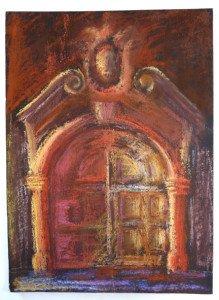 Pastel sur carton fort - barokk kapu 1975  - format  42x31
