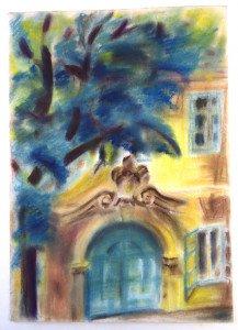 pastel sur papier fort -  esztergom 1975 - format 43x31