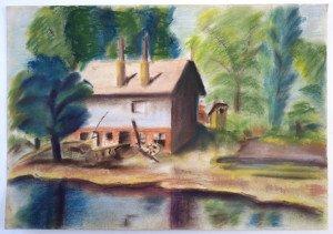 pastel sur papier fort - Inondation à  esztergom - format 30x43.5