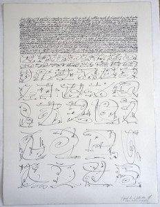 3 - encre de chine sur papier Arches 300 gr - 61x46 - Première tentative de décriptage fragment du 4 juillet 1992
