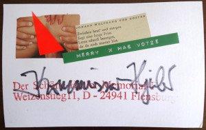 carte voeux signée au feutre format 11.5x18 (censurée par nous mêmes)