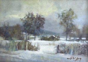 détail sur panneau (paysage de neige) - format panneau 33x46