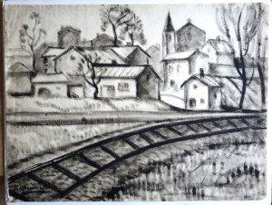sur papier Lavis Industriel Mongolfier - Format 48x63