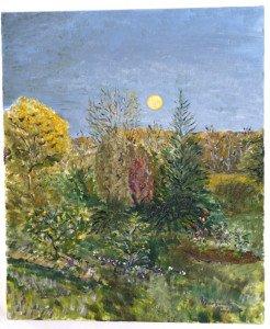 sur toile lin - Lever de lune à la gelée -  format 55x46