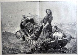 LA LEVEE DES FILETS d'après Georges Jean-Marie Haquette (1854 - 1906)